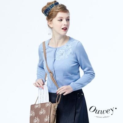OUWEY歐薇-蕾絲貼花毛衣外套-共2色