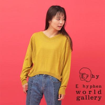 E hyphen  簡約小V領側線條設計針織上衣