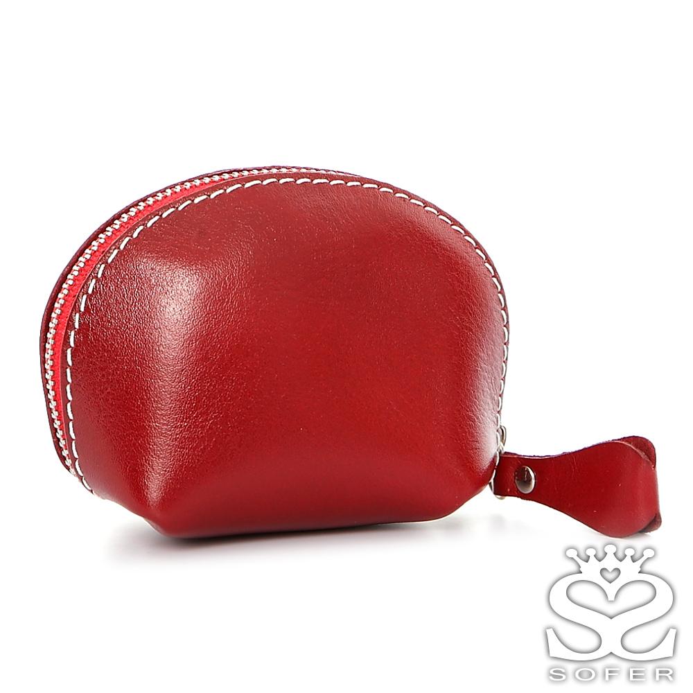 SOFER 全手工義大利樹羔皮貝殼零錢包 - 琥珀紅