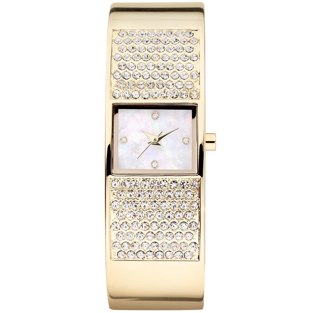 MANGO 閃耀舞動晶鑽風采時尚腕錶-珍珠母貝 金/W19xH14