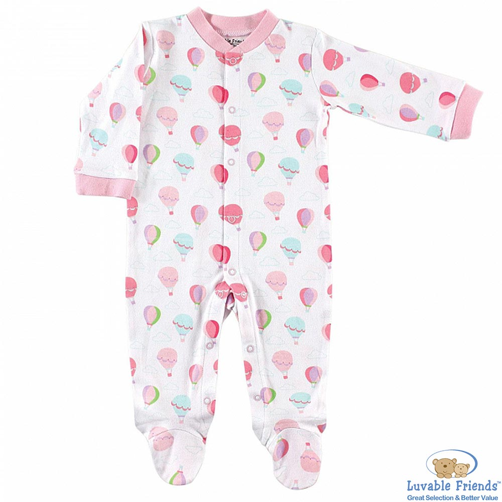 Luvable Friends 粉紅氣球款長袖包腳連身裝