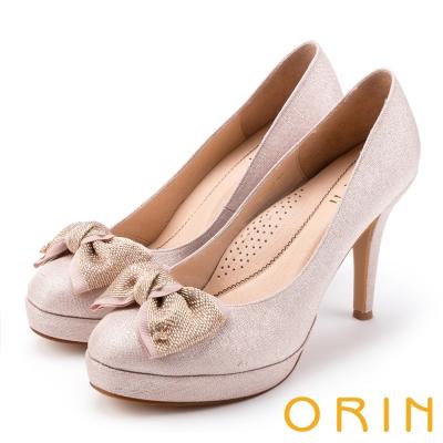 ORIN 晚宴婚嫁首選 夢幻珠光蝴蝶結高跟鞋-粉色