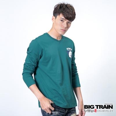 BIG TRAIN 怒濤牡丹躍鯉TEE-男-藍色