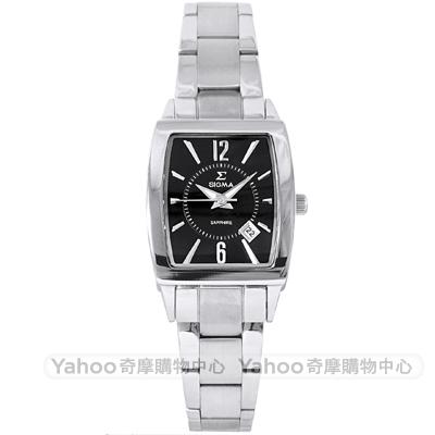 SIGMA 質感簡約時尚方錶手錶-黑X銀/24mm