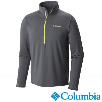 【Columbia哥倫比亞】男-防曬50快排半開襟上衣-灰 UAE11280GY