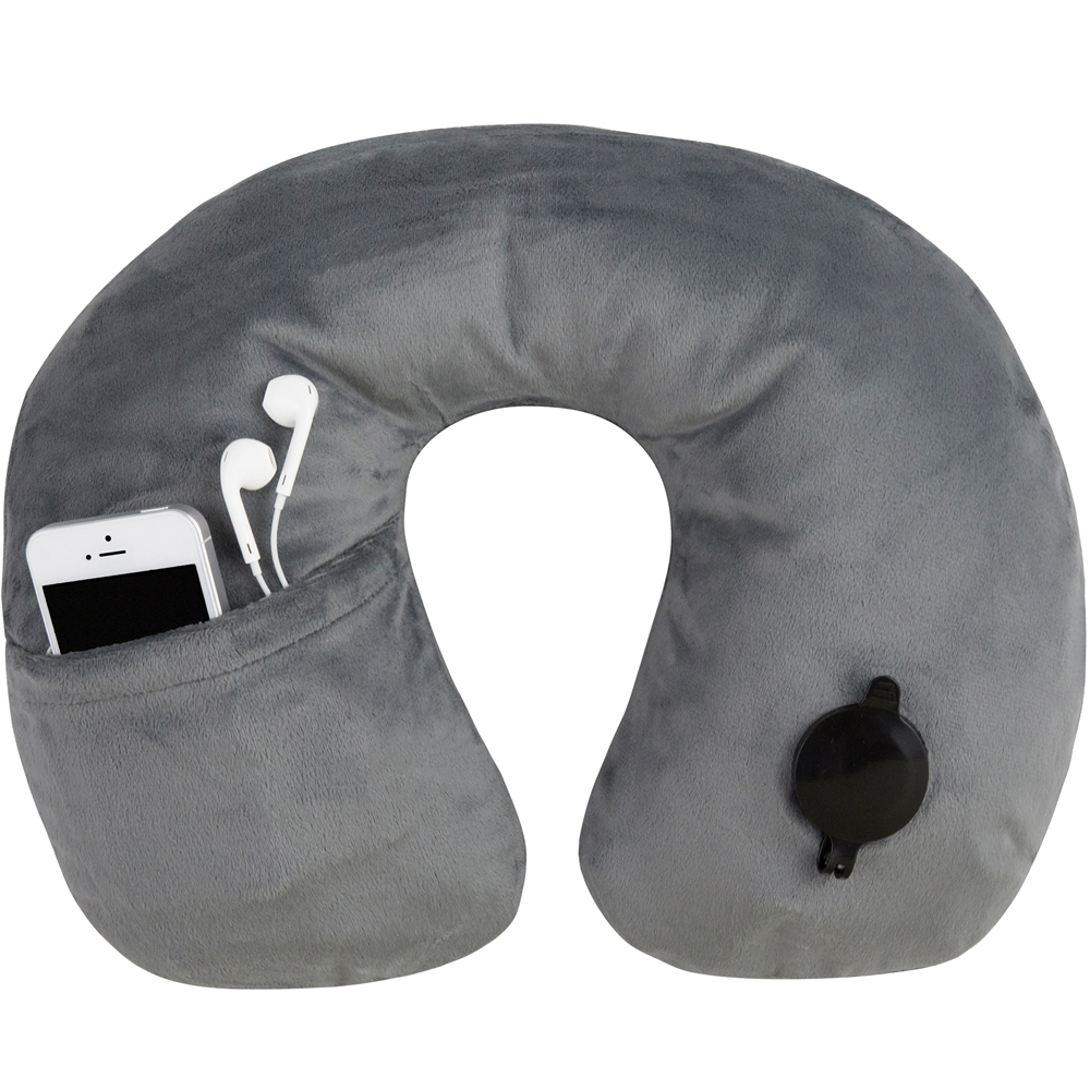 TRAVELON 絨布音樂護頸充氣枕(灰)