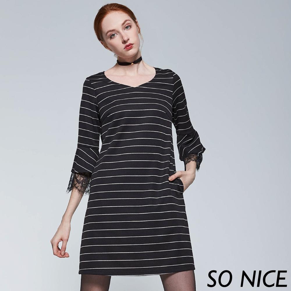 SO NICE條紋拼接蕾絲針織洋裝