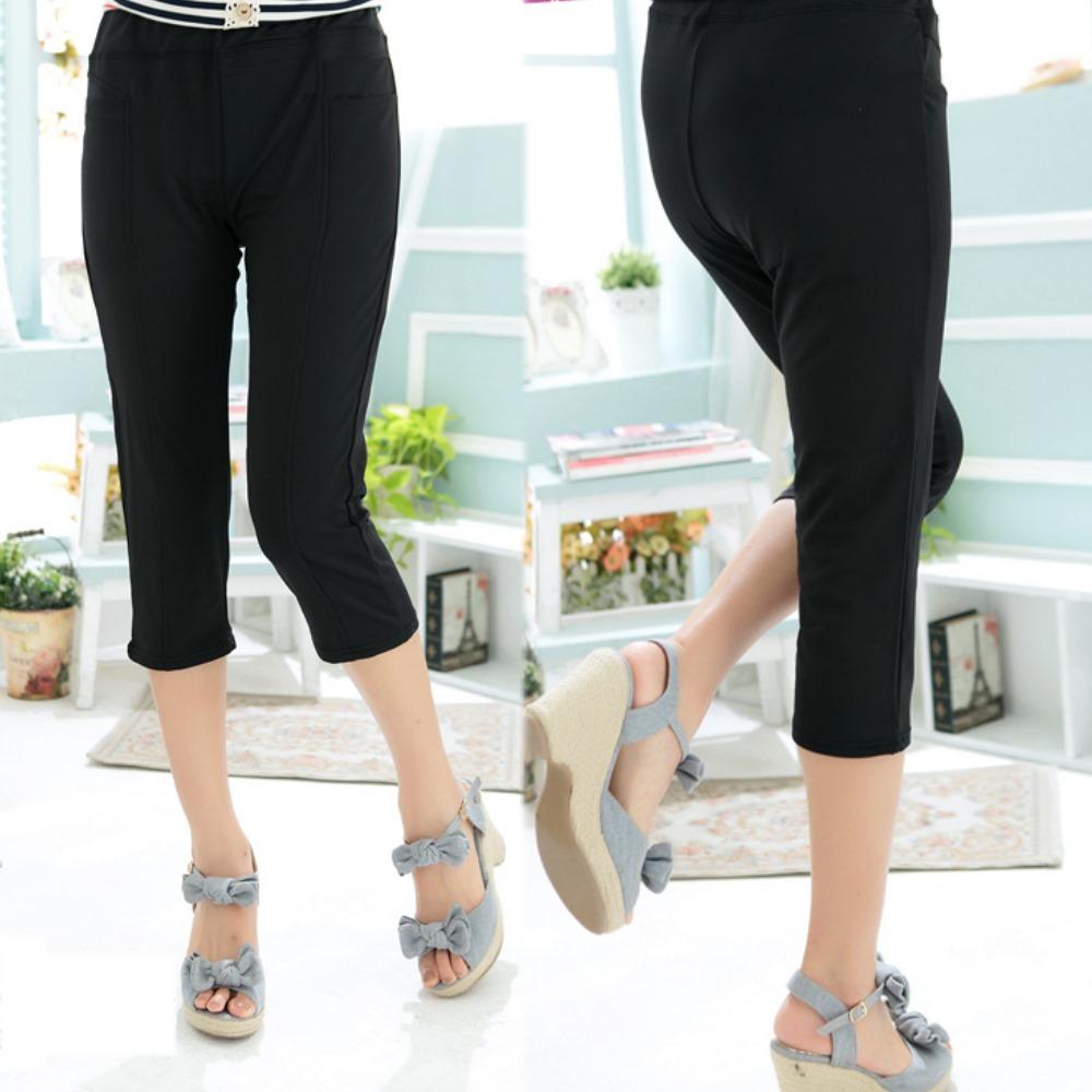 La Belleza黑色棉質彈性七分褲