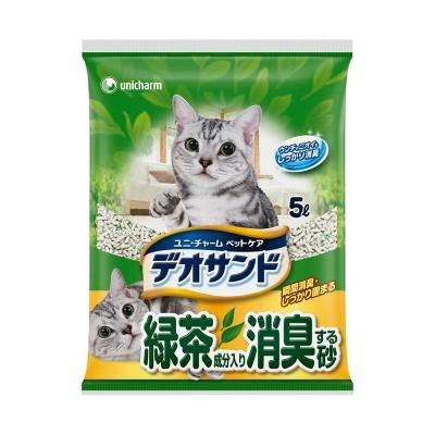 日本Unicharm消臭大師尿尿後消臭貓砂-綠茶香5L