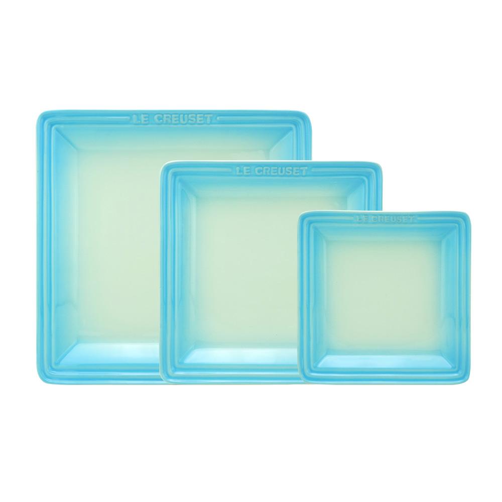 LE CREUSET 瓷器正方盤組合(淡粉藍) 16cm/21cm/27cm各一