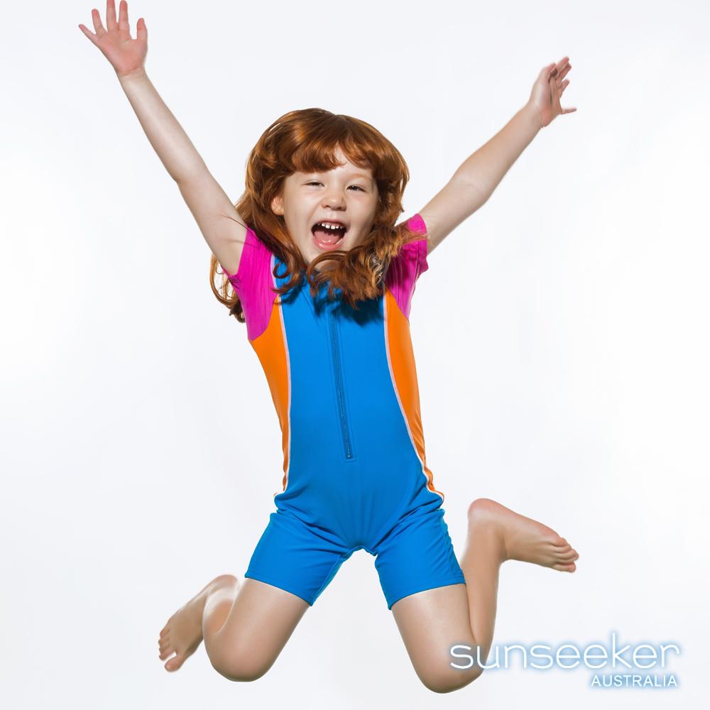 澳洲Sunseeker泳裝女童抗UV防曬短袖立領連身泳衣