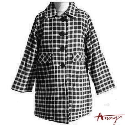 Anny經典質感不敗條紋單排釦大衣*9281黑