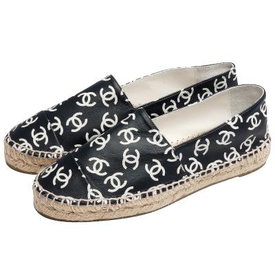 CHANEL經典Espadrilles小羊皮滿版小香LOGO厚底鉛筆鞋(黑)