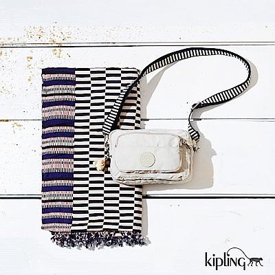 Kipling 斜背包 象牙白混搭條紋-小