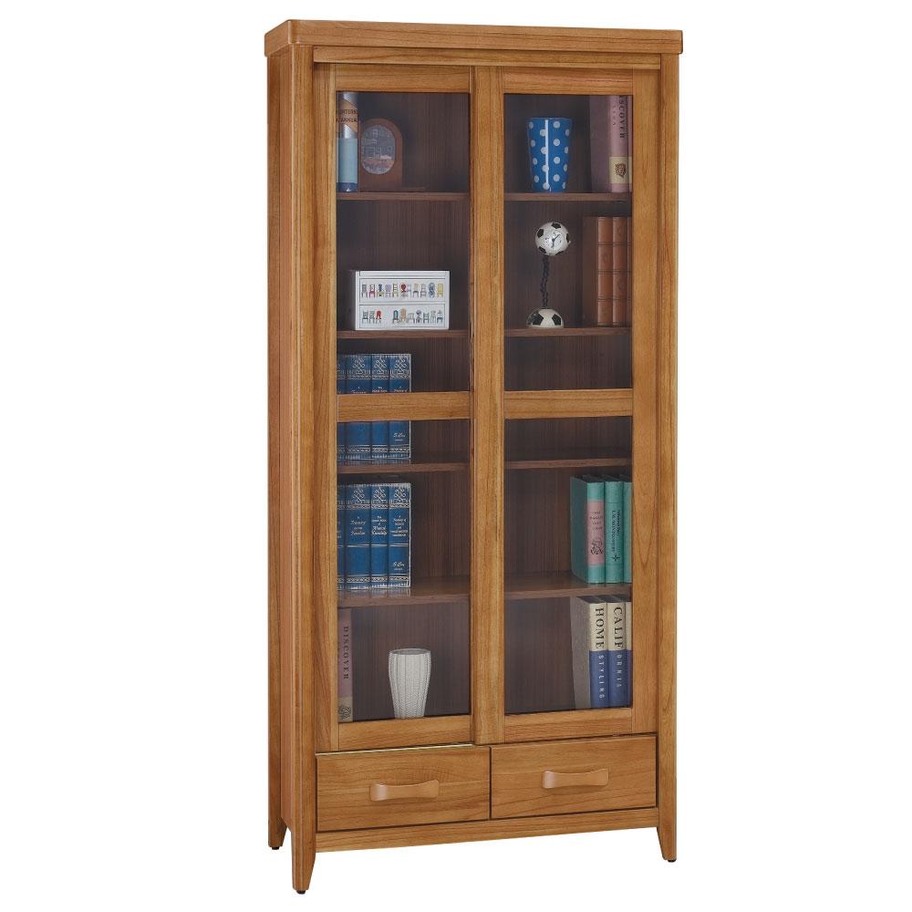 品家居 克莉絲蒂3尺柚木推門下抽書櫃