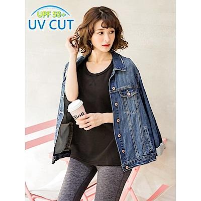 台灣品質世界同布車線反折袖圓領抗UV上衣