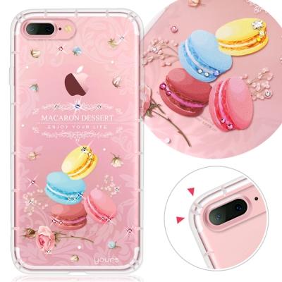 YOURS APPLE iPhone7 Plus奧地利水晶彩繪防摔氣墊手機鑽殼-馬卡龍