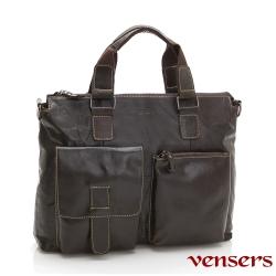【vensers】小牛皮潮流個性包~手提斜背包(N026001深色)