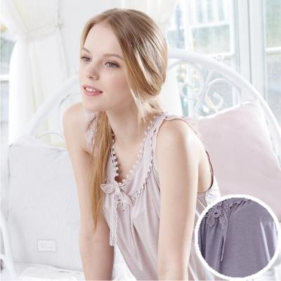 羅絲美睡衣 - 雅典美學無袖褲裝睡衣 (優雅芋紫)