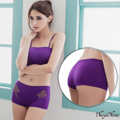內褲 透氣洞洞中低腰平口內褲S-XL(紫)Naya Nina