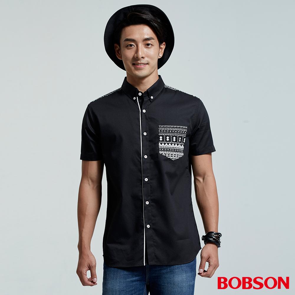 BOBSON 男款圖騰印花襯衫