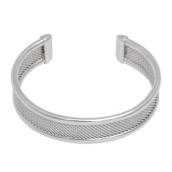 TIFFANY&Co. 925純銀網狀簍空造型寬版手環(銀)