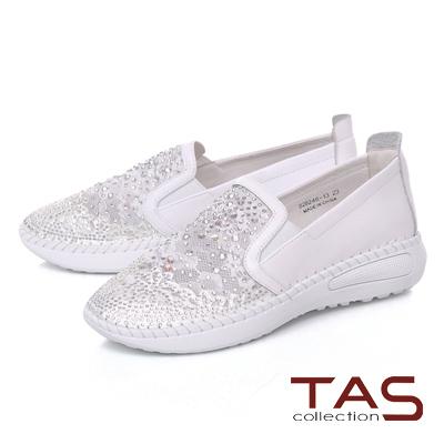 TAS水鑽透膚網布拼接縫線休閒鞋~閃耀白