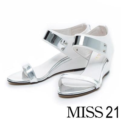 MISS 21 雅致氛圍一字金屬感繞踝楔型涼鞋-白