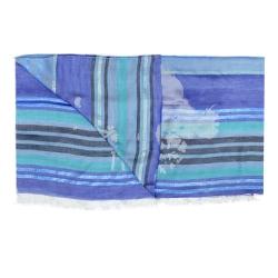Alviero Martini 義大利地圖 條紋地圖絲巾-藍(80X180)