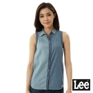Lee 無袖牛仔拼接襯衫-女-藍