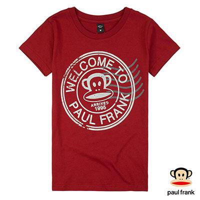 Paul Frank-郵戳Julius印花短袖T恤-暗紅色(女)