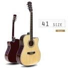41 吋民謠木吉他,可調整弦距,液晶調音器,全椴木,三色全配,琴袋+背帶+配件
