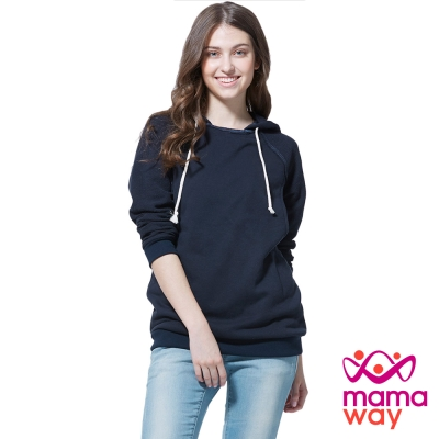 孕婦裝 哺乳衣 拉克蘭袖正反拼接孕哺帽T(共二色) Mamaway