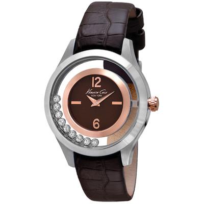 Kenneth Cole 和緩旋律氣質皮帶腕錶~銀框深咖啡 39mm