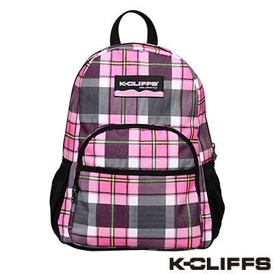 美國K-CLIFFS-潮流格紋雙肩後背包-粉