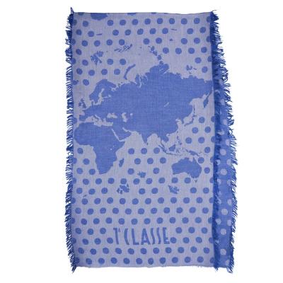 Alviero Martini 義大利地圖包 經典圓點素色下擺流蘇方巾/L-藍