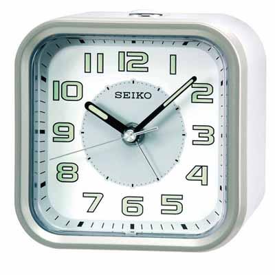 SEIKO 精工 嗶嗶聲 靜音 貪睡鬧鐘(QHE 128 A)-白/ 9 . 4 X 9 . 7 cm