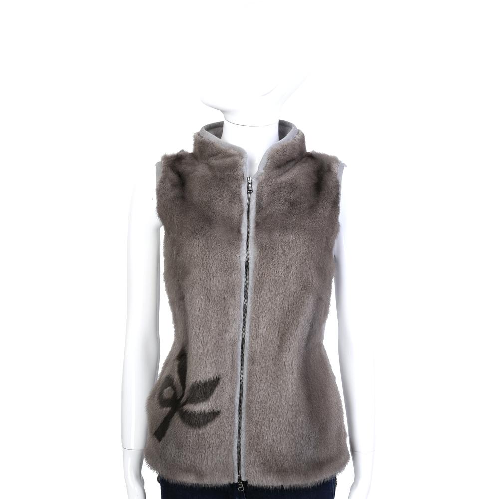 GRANDI furs 灰棕色漸層雙材質拼接皮草背心
