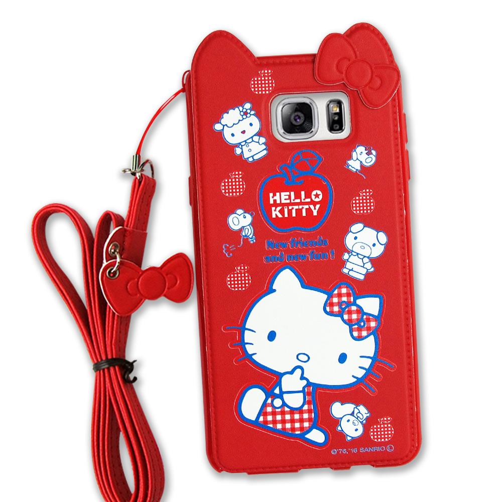 Hello Kitty Samsung Galaxy Note 5 立體皮革手機殼(蘋果)