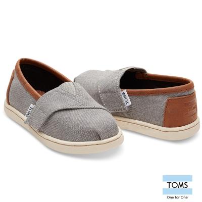 TOMS 帆布拼接皮革懶人鞋-幼童款