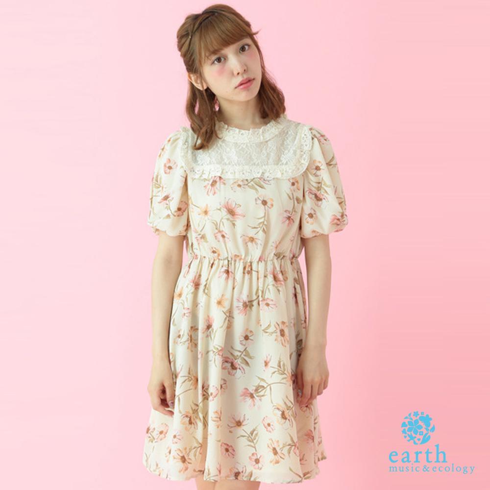 earth music 復古印花蕾絲領泡泡袖收腰洋裝-16163H10000