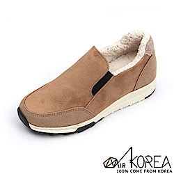 【AIRKOREA】正韓雙材質拼接內刷毛休閒懶人便鞋增高5公分-卡其