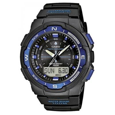 CASIO 輕巧登山王者風範戶外運動雙顯錶(SGW- 500 H- 2 B)-黑x藍框/ 46 . 8 m