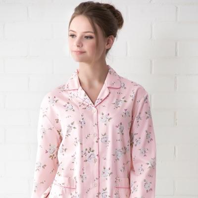 羅絲美睡衣 - 甜蜜玫瑰長袖褲裝睡衣(桃粉色)