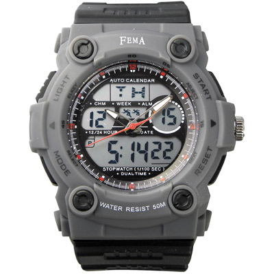 FEMA 強悍時尚 計時鬧鈴 雙顯運動錶(P367)-灰/48mm