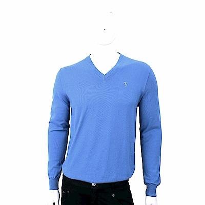 TRUSSARDI T字刺繡細節藍色純棉針織衫