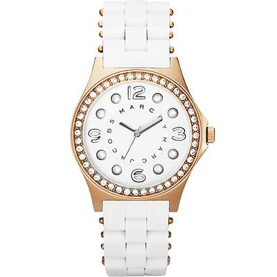 Marc Jacobs 純愛點點晶鑽時尚腕錶-白/36mm