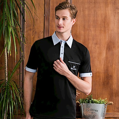 范倫鐵諾路迪-吸濕排汗襯衫領Polo衫-黑