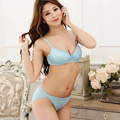 無鋼圈 100%蠶絲成套內衣褲M-XL(水藍) Seraphic