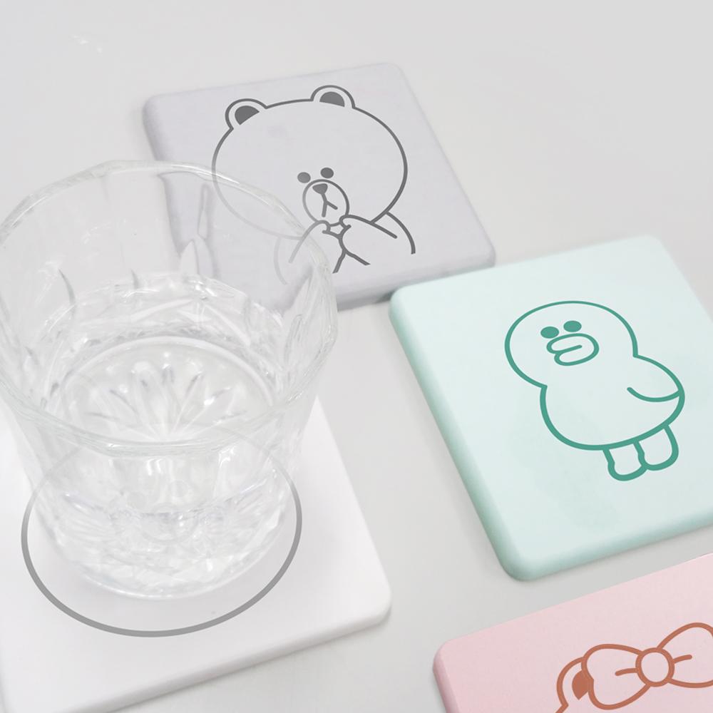 【收納皇后】LINE Friends 珪藻土和風系列吸水杯墊(同款/2入組)